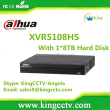 5 in 1 XVR Support 1080P Dahua 8Channel Penta-brid Digital Video Recorder With With 1*8TB Hard Disk: XVR5108HS