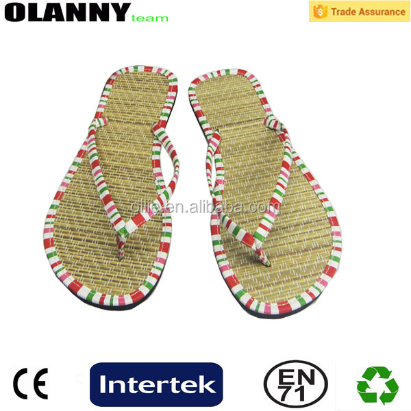 flat slippers high quality hot selling wholesale straw flip flops