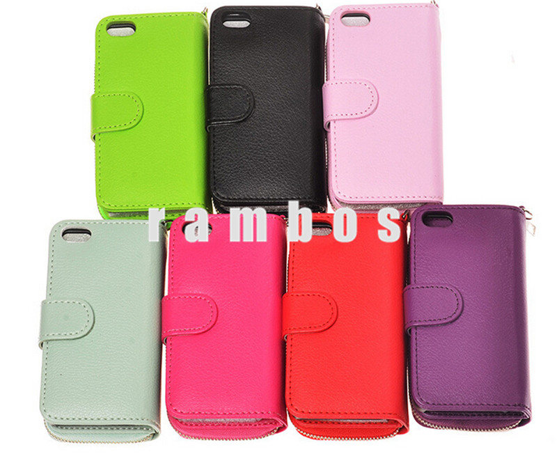 Magnetic Magnet PU Leather Mobile Phone Wallet Pouch Bag Zipper Case for iPhone 4 4S with Credit Card Holder Wrist Strap