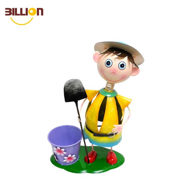 Cartoon Boy Flower Planter Garden Metal Pots