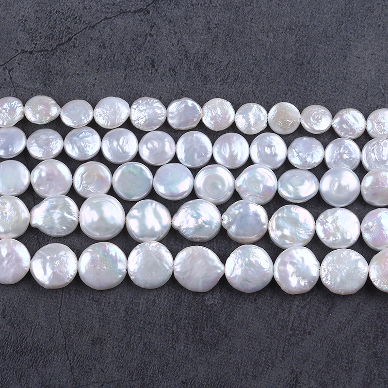 9-10mm coin freshwater pearl strand loose pearl beads