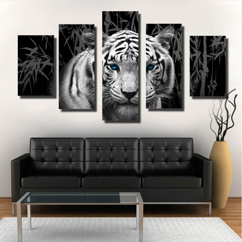 Factory supplyhot seller wholeseller glitter wall art tiger canvas Decoration Modern ink Printing