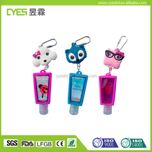Fashion smart design low price promotional silicone hand sanitizer cover with key ring