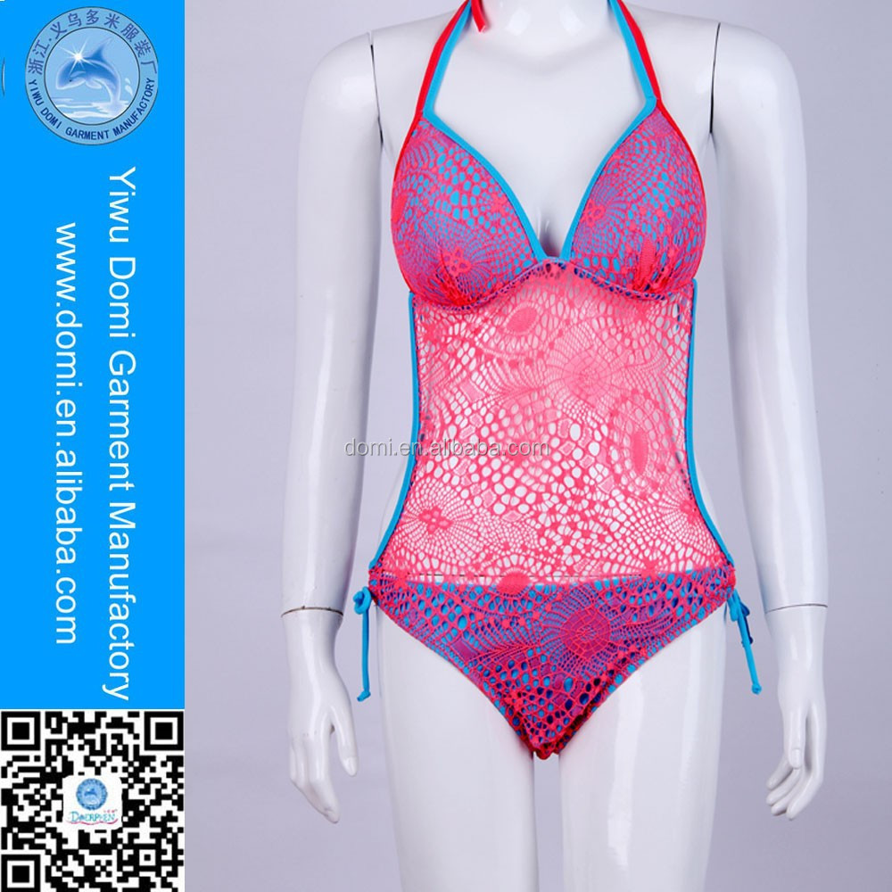 Sexy see- through swimwear lace bikini bathing suits women