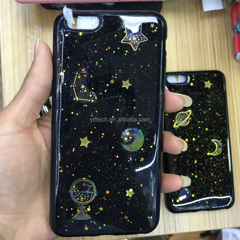 Tpu +pc material drop glue shimmering powder mobile phone cover for iphone6s plus