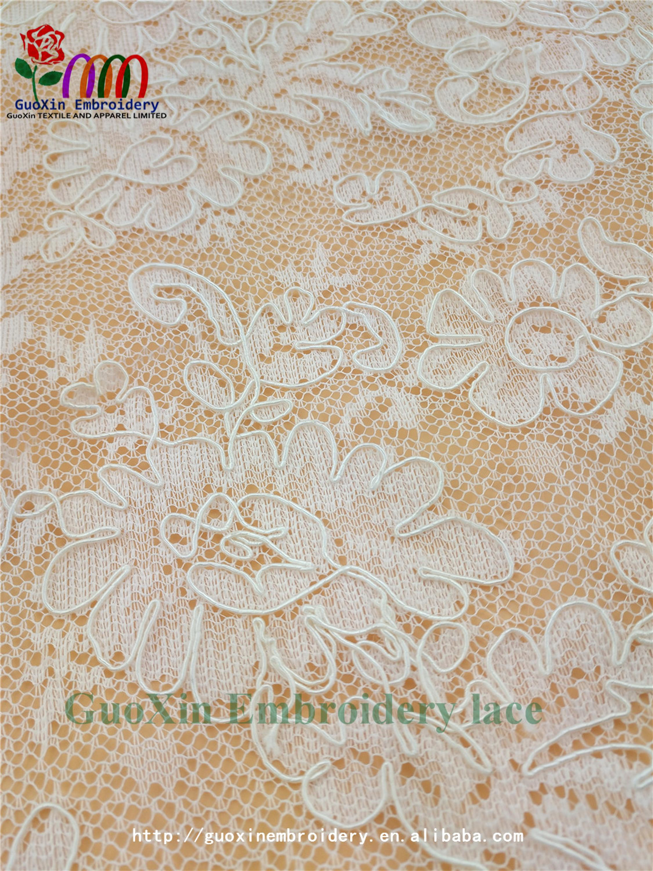 china manufacturer french lace embroidery fabric ivory bridal lace with cording