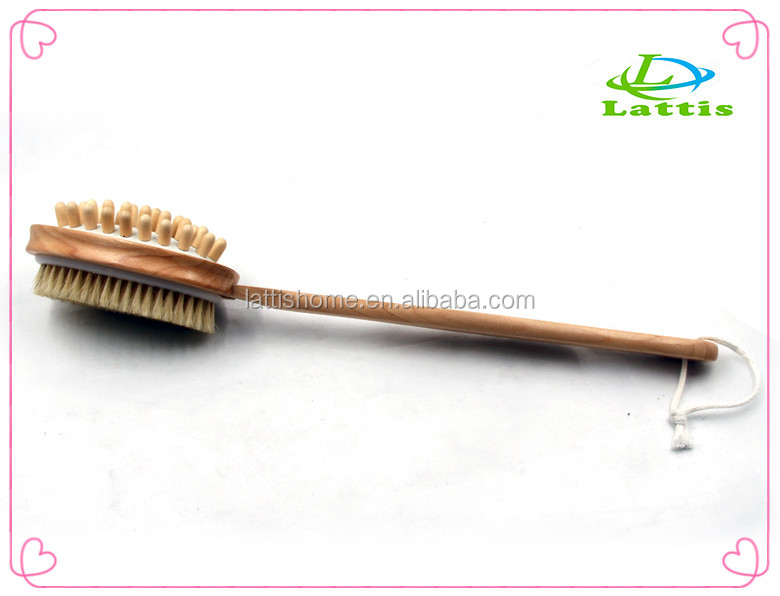 Double side wooden bath body brush with natural loofah and bristle