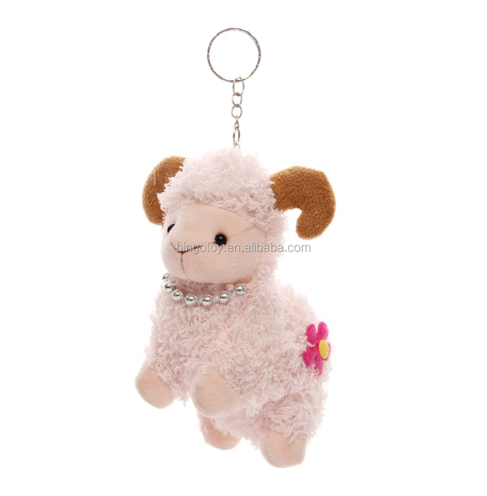 Cute mini stuffed animal keychain plush sheep keychain