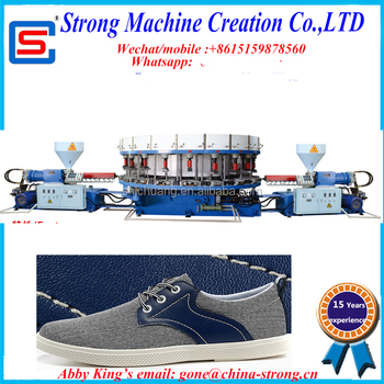PVC DIP Making Machine, PVC leasure shoe injection Moulding Machine/ PVC DIP machine inject outsole into the shoe upper direct