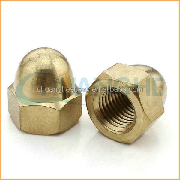 Top High Quality Hot Sale ANSI DIN JIS ISO Standard m6 x 17 nickel plated brass flange cap nut