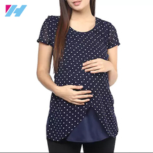 Blue Cotton Maternity Fashion Tops Clothes With Short Sleeves