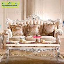 OEFASHION french style leather sofa hand carved couch sofa from foshan <strong>furniture</strong> A12