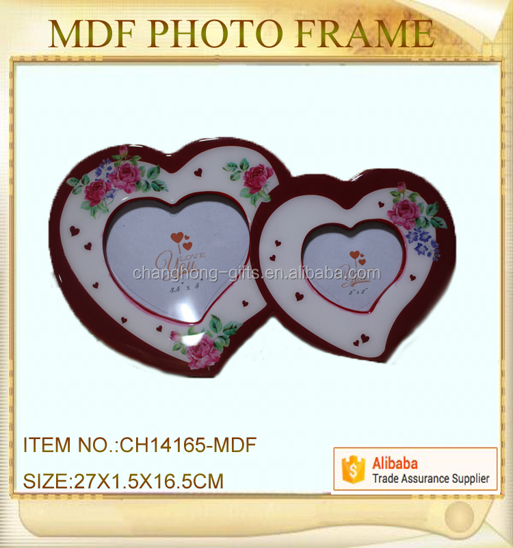 double heart love mdf epxoy photo frame