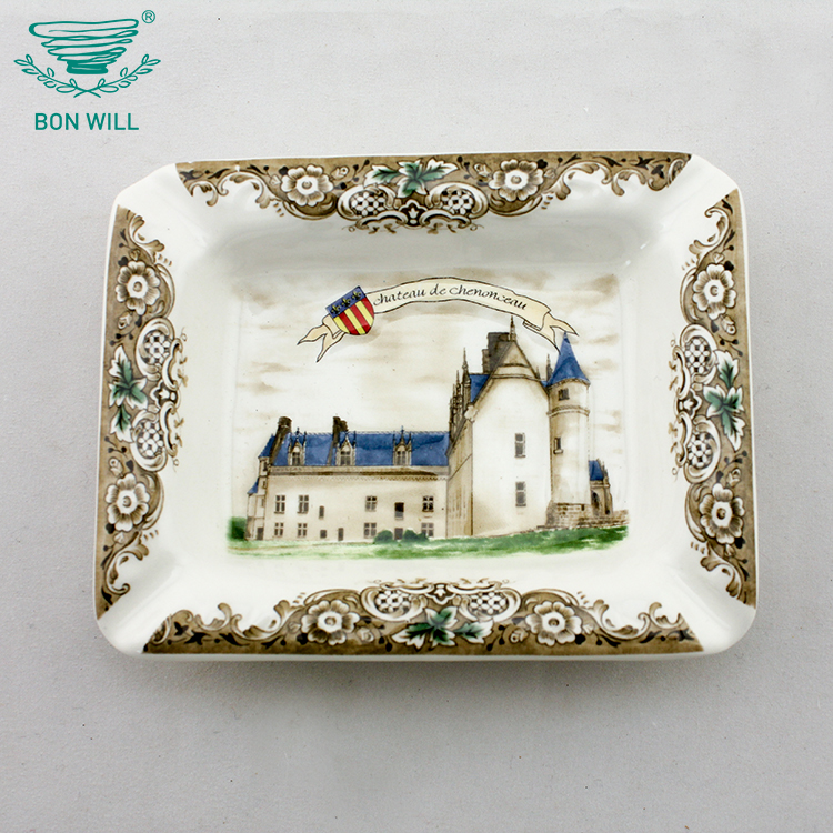 China factory made hotel porcelain cigarette ashtray with custom logo