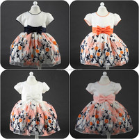 High quality short sleeve flowers girls dresses beautiful embroidered colored skirt party girls dress for 2015 New style L1823