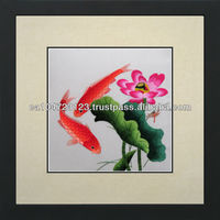 32010-Koi in Lotus Blossoms-- Susho, King Silk Art 100% Handmade Silk Embroidery