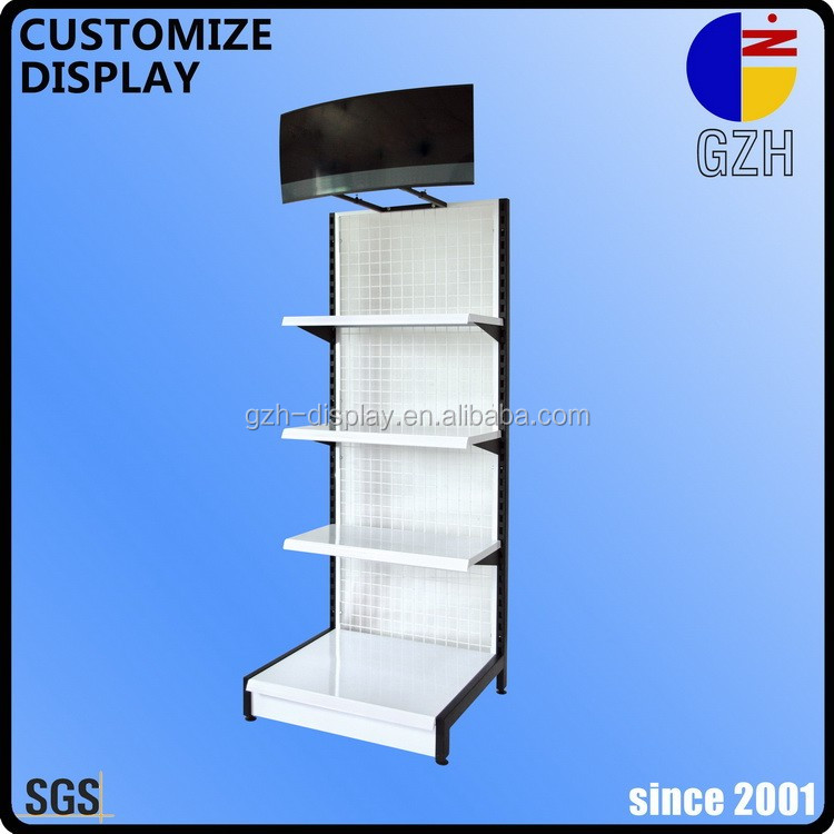 promotion wire mesh floor standing display demonstration racks with shelves and AD board for pet food supplies