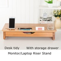Luxury Craft Wood Monitor Stand with Riser, Storage Organizer Bamboo,Laptop Office Cellphone TV Printer Stand Desktop Container