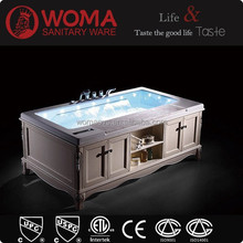 Jacuzzy whirlpool bathtub with solid wood baninet for five star hotels