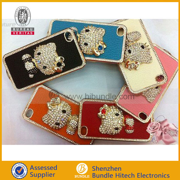 Luxurious style crystal diamond bling bling case for iPhone 5 5G cute cat case