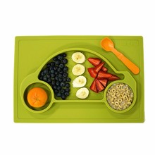 Safe 100% Silicone FDA Certified BPA Free Baby Toddler Divided Silicone Placemat Plate Dinning Food Tray