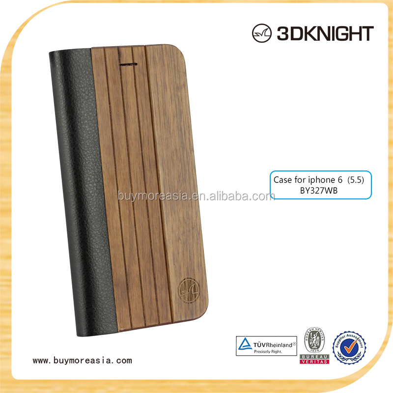 wood bamboo phone flip cover case for iPhone 6plus