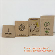 Three Side Seal Brown Kraft Paper Zip Lock Bag Custom Clear Window Powder Sample Packet Individual Drip Coffee Empty Tea Sachet