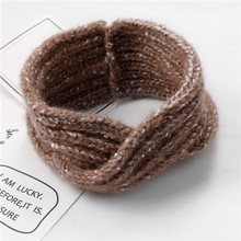 New fashion knitting wool flower headband elastic headband