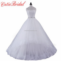 Real Photos Bridal Dresses Ball Princess Beaded Flowers White Wedding Party Dresses