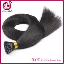 wholesale double drawn 1g/strand silk straight i tip hair extension for cheap