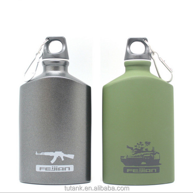 Aluminum Sports Water Bottle Army Water Bottle Climing Square Bottle 500ml