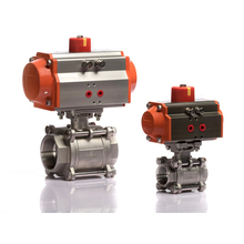 DN25 ISO standard double acting stainless steel pneumatic actuator ball valve