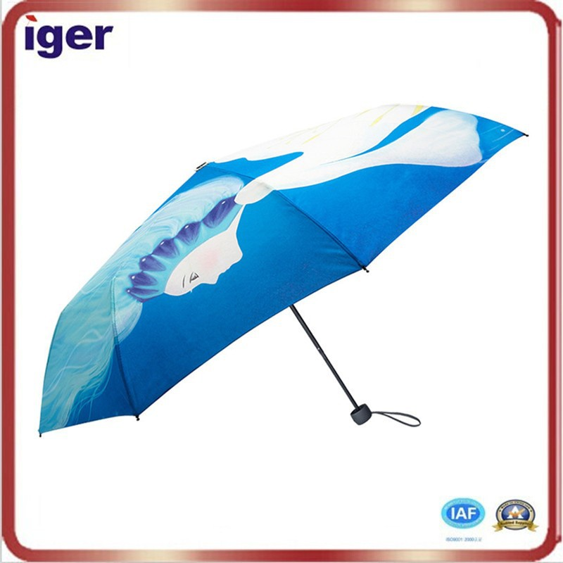 Digital Printing Pongee Sex Beautiful Girl Pictures 3 fold-umbrella