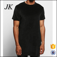 chinese factory mens longline velour t shirt with side zips