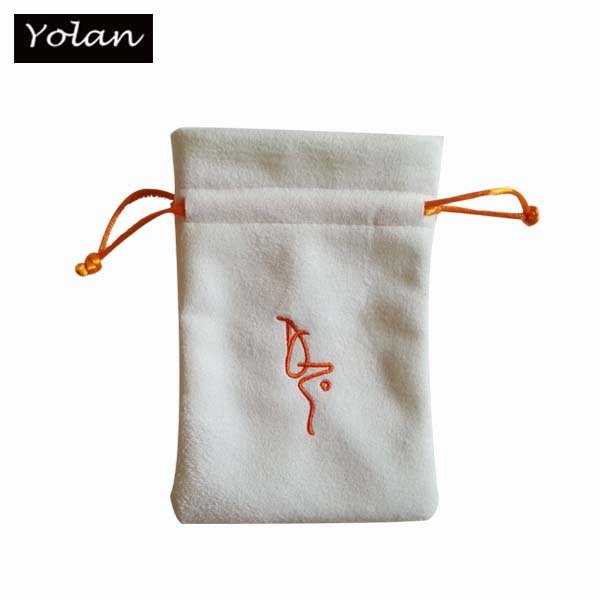 White Suede Jewelry Pouch , High Quality Suede Pouch