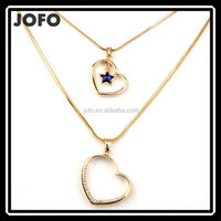 JOFO Brand Beautiful Double Layer Heart Star Elegant Necklace For Lover Girlfriend