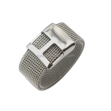 Stainless Steel Mesh Belt Buckle Rings for Men and Women Silver Wedding Bands 12mm