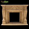 Indoor Used Antique Yellow Marble Fireplace For Sale