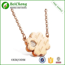 2015 Artificial golden jewellery stainless steel interlocking love heart diamond flower necklace