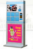 Free standing cell phone rapid charging stations with lockers