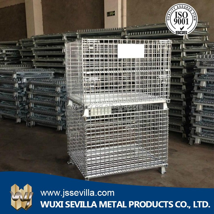 Warehouse metal storage crate wire mesh cage