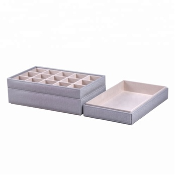 white velvet lined stackable jewelry tray pu leather insert display storage organizer carrying case