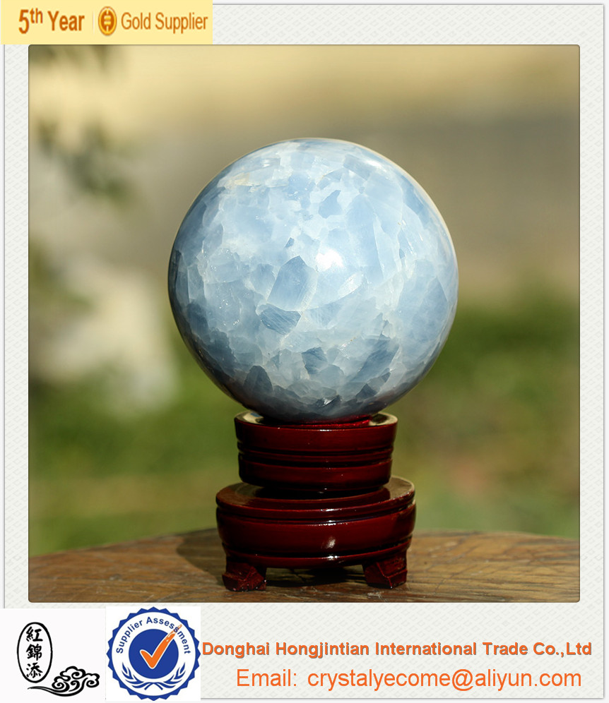Large Ice Sky Blue Calcite Crystal Sphere Carving Ball, Madagascar