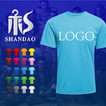 Guangzhou Shandao Summer Mens180g Polyester Cotton Blend Blank Custom Logo 1 dollar T Shirts For Promotion
