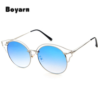 2017 Hot Alloy Cute Cat Eye Sunglasses Sexy Women Coating Shades Brand Vintage Female Designer Round custom logo SunglassesUV400