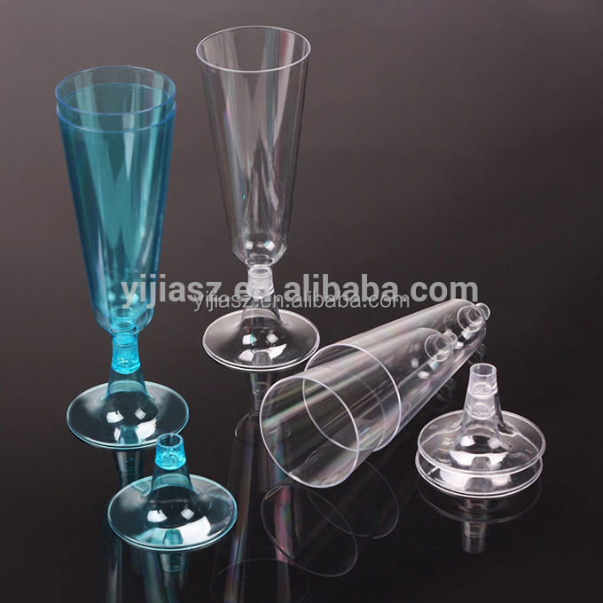 5oz disposable plastic glass clear or color PS plastic champagne flutes