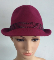 lady fashion cap polyester felt hat with decoration