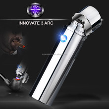 Hot sales Triple ARC super power 550mAh USB rechargeable lighter for cigar , high quality new round triple ARC lighter