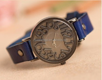 Hot selling blue color high quality vintage genuine leather bracelet antique quartz watch with abstract number