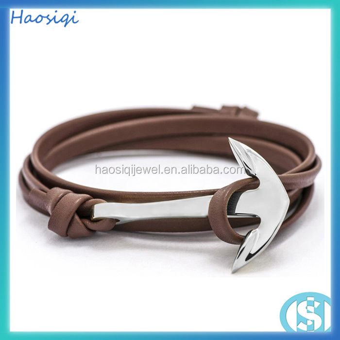 2015 fashion trendy gold women jewelry leather anchor bracelet mens